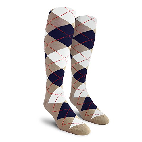 - Argyle Golf Socks: Over-the-Calf - Taupe/Navy/White - Mens