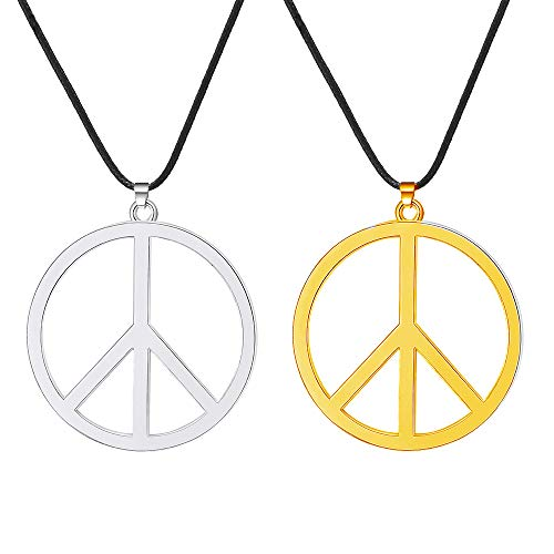 - BOMAIL 2Pcs Peace Sign Pendant Necklaces for Men Women Classic 60s 70s Party Accessories Hippie Pendant Necklace (Silver&Gold)