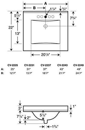 Swanstone CV02237.035 Contour Solid Surface Single-Bowl Vanity Top, 37-in L X 22-in H X 6.25-in H, Arctic Granite