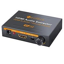 Neoteck 4K HDMI Audio Extractor con Volumen Ajustable HDMI a Óptical SPDIF Toslink + R / L (RCA) + 3.5mm Audio Estéreo Convertidor Para Blu-ray DVD Player One SKY HD Box PS3 PS4