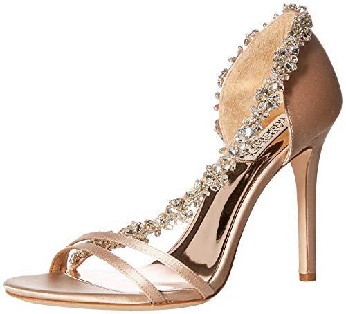 Badgley Mischka Women's VOLETTA Heeled Sandal, Latte Satin, 6.5 M US