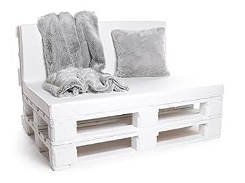 PadsForAll palé Cojín Muebles de Jardín, Asiento para Banco, colchón Cojines también M. Respaldo o Almohada Decorativa en Piel sintética Blanco, ...