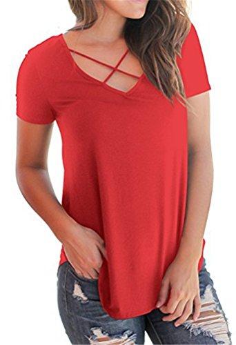 Camicia Tops T Casuale Donna Blusa Corta Estate V Shirt Collo Maglietta Manica Rosso POINGS TBFa6