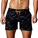 Cuekondy Men 2019 Summer Fashion Camouflage Swim Trunks Beach Board Shorts Casual Quick Dry Running Sports Short Pant(Black,S)