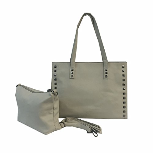 2 Piece Best Queens Stone Gray 2 in 1 Vegan Faux Leather Large Studded Lined Tote Over the Shoulder & Handbag Purse Satchel Travel Bag in Bag Girlfriend Unique Easter Basket Gift Idea Spring (Frozen Trick Or Treat Bucket)