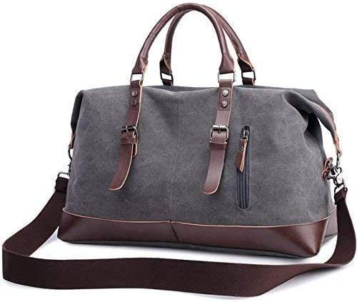 Oversized Canvas Genuine Leather Duffle Bag Handbag Shoulder Bag Unisex Travel Tote Holdall Handbag for the weekend and business trips Gray