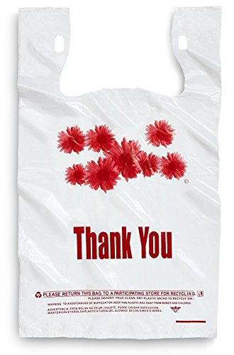 1000ct Red Daisy Flower Thank You Large T-shirt Carry out Bags 11.5