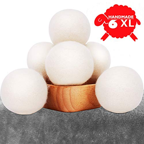 "CompuClever Wool Dryer Balls XL 6 Pack - 2.96"" Natural Organic Fabric Softener - 100% New Zealand Premium Reusable Laundry Dryer Balls - Shorten Drying Time & Reduces Winkles"
