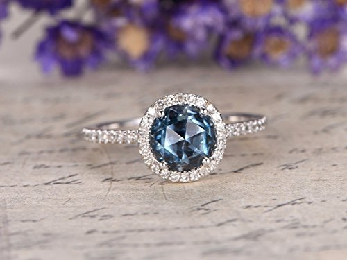 Natural 6.5mm Round Cut London Blue Topaz Engagement Ring Solid 14k White Gold Diamond Halo Half Eternity Wedding Band Minimalist Bridal Set Promise Anniversary Gift Birthstone Ring ()