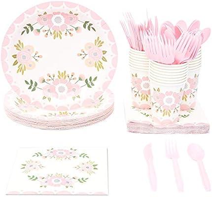 Vajilla desechable – sirve 24 – Suministros de fiesta vintage floral para cumpleaños, novia, boda, incluye cuchillos de plástico, cucharas, tenedores, ...
