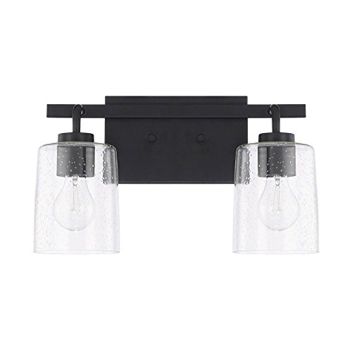 Capital Lighting 128521MB-449 Homeplace/Greyson - Two Light Bath Vanity, Matte Black Finish with Clear Seeded Glass