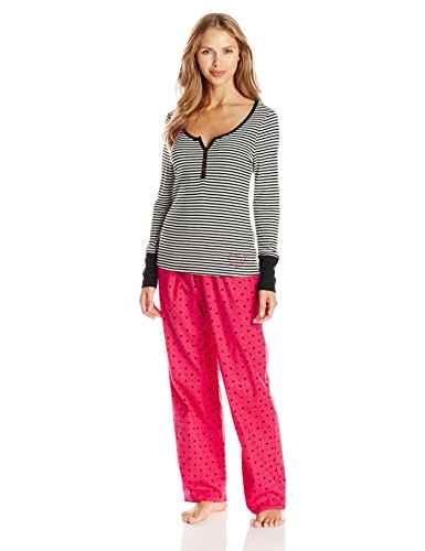 Striped Flannel Pajama Pants (Betsey Johnson Women's Packaged Rib Top with Flannel Pant Pajama Set, Hearts/Spades Red Hot, Large)