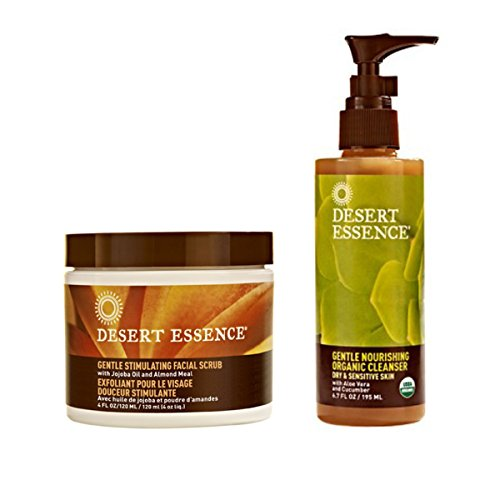 Desert Essence Gentle Stimulating Facial Scrub and Desert Essence Gentle Nourishing Organic Cleanser Bundle With Jojoba Seed, Almond, Aloe Vera and Chamomile, 4 fl oz and 6.7 fl oz each
