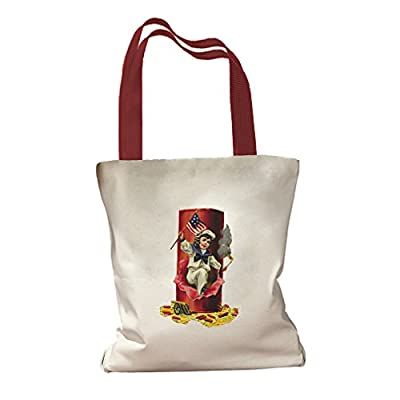 Fourth Of July America Flag Holidays Canvas Colored Handles Tote Bag