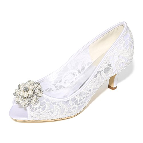 L@YC Frauen Frühling Sommer High Heels Fall Silk Hochzeitskleid Party & Abend Low Heel Kristall Schwarz Rosa Weiß Weiß