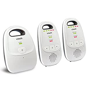 VTech DM112-2 Audio Baby Monitor with up to 1,000 ft of Range, 5-Level Sound Indicator, Digitized Transmission & Belt Clip with Two Parent Units