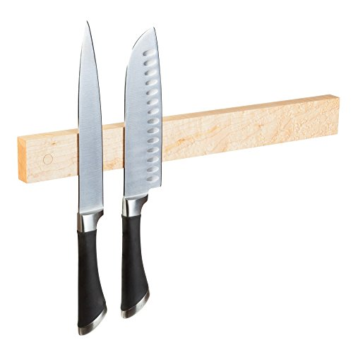 Powerful Magnetic Knife Strip, Solid Wall Mount Wooden Knife Rack, Bar. Unique gift Made in USA (Birdseye Maple, (Birdseye Maple Cabinets)