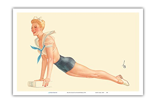 Miss April Sailor Girl - I'm Going to Join The Navy - Vintage Pin Up Calendar Page by Alberto Vargas c.1944 - Master Art Print - 12 x 18in]()