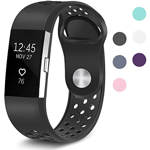 Maledan Replacement Sport Bands with Air Holes Compatible for Fitbit Charge 2, Black, Large