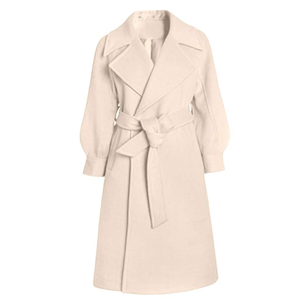 iLXHD Womens Coat Winter Lapel Wool Trench Jacket Long Sleeve Overcoat Outwear Beige by iLXHD
