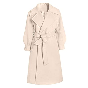 7065089a8 Womens Winter Lapel Wool Coat Trench Jacket Long Sleeve