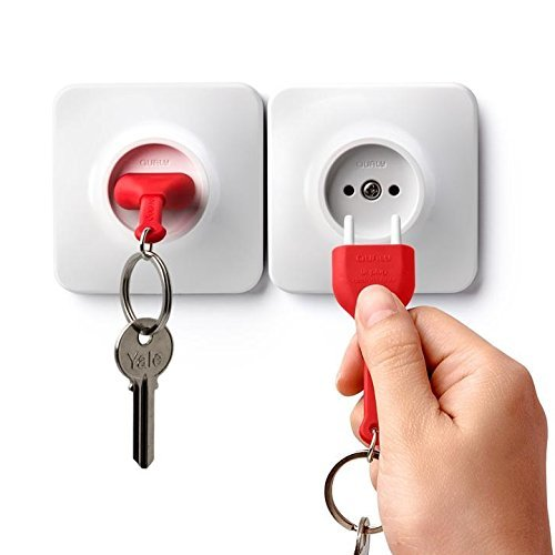 Unplug Key Holder by Qualy Design Studio. White and Red Color. Unusual Wall Keyholder Stylized as Electrical Wall Socket Plug and Key Ring. Great Unique Gift for Him or Her. ()
