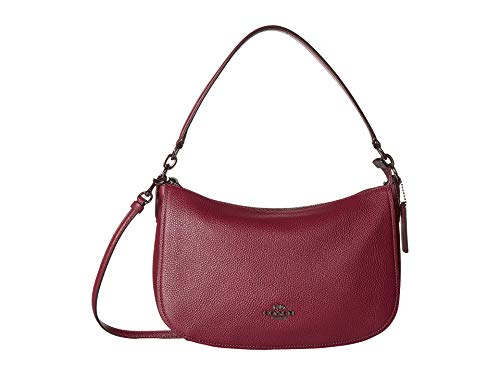 COACH Women's Pebble Chelsea Crossbody Gunmetal/Dark Berry One Size ()
