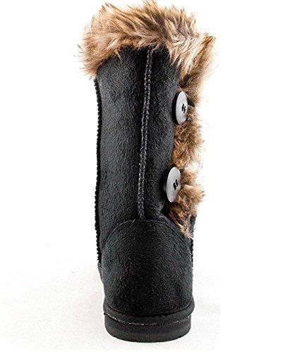Flat Boot Shoes Faux Buttons Soft calf Women's Winter Mid 18 Snow 4 Fur NEW Black xPSTqz