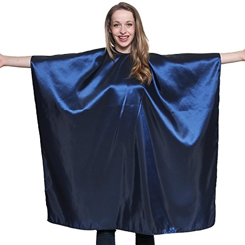 Blue Iridescent Salon Cape with snaps Professional Quality 45 inch X 60 inch Heavy Duty Material Extra Long Durability For Barbershop and Beauty Shop Use Long Lasting and Specialized (NAVY BLUE)