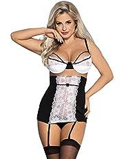 comeondear Dames babydoll push-up kant busteondersteuning borstvrije beha transparante nachtkleding lingerie dessous-sets prikkelend ondergoed jarretelgordel met slip