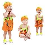 2pcs Newborn Baby Jumpsuit, Boy Girls Cute Strap Rompers Cartoon Fruit Tops Hat for 0-2yesars (6-12 Months, Orange)
