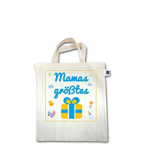 Zur Geburt - Mamas Geschenk Junge - Unisize - Natural - XT500 - Fairtrade Henkeltasche / Jutebeutel mit kurzen Henkeln aus Bio-Baumwolle