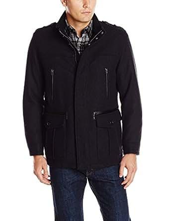 Cole Haan Men S Black Wool Military Car Coat Jacket