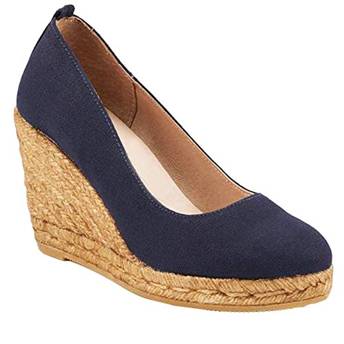 - Nailyhome Womens Espadrille Wedge Sandals Slip On Closed Toe High Heels Summer Pumps