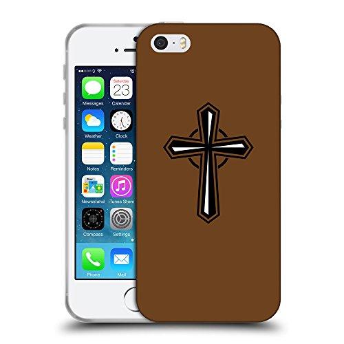 GoGoMobile Coque de Protection TPU Silicone Case pour // Q08020633 Christian Cross 27 Sépia // Apple iPhone 5 5S 5G SE