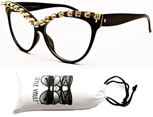 WM516-vp Rhinestones Clear Lens Cateye Eyeglasses (V1204A Black/Gold-Clear, uv400)