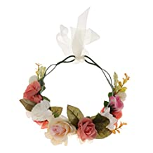 Phenovo Bridal Rose Flower Crown Forehead Headband Wedding Prom Beach Floral Garland Hair Accessories