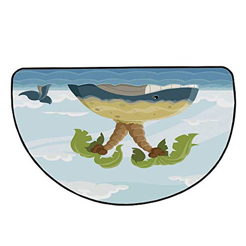 Sassafras Kids Fish - Fish Comfortable Semicircle Mat,Cartoon Whale with Island on His Back Palm Trees Clouds Kids Playroom Nursery Decor for Living Room,31.4
