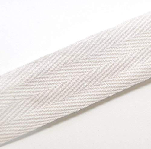 (Trimplace Twill Tape. 25 Yards. 3/8 to 1 Inch Size. 100% Cotton. White, Natural, Black. (White, 3/4 Inch) )