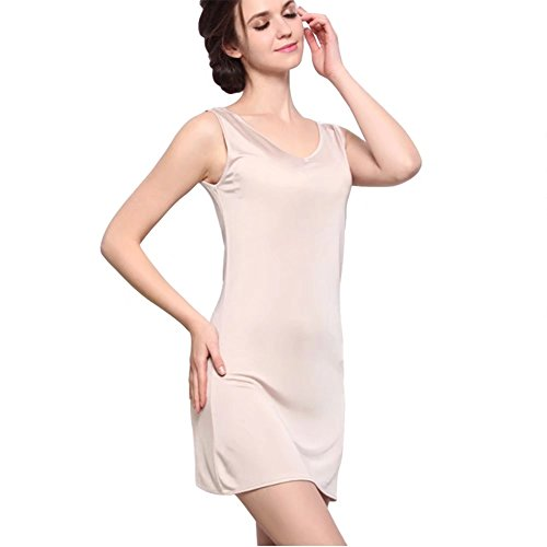 100% Mulberry Silk Cap Sleeve Full Slips Dresses Layering Tee Comfy Slim Fit Camisole Under Dress Liner
