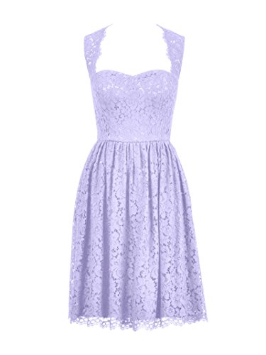 Short Open Evening Dress Lilac Alicepub Sleeveless Bridesmaid Back Lace Gown Party 14dwqa