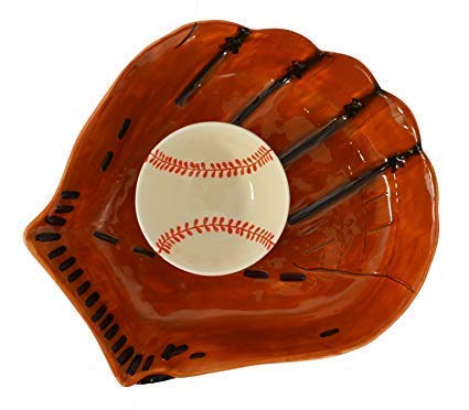 Chip & Dip Ceramic Serving Dish Bowl - Decorative Bowl Baseball Glove Serving Platter Chip/Dip Baseball Glove Shape
