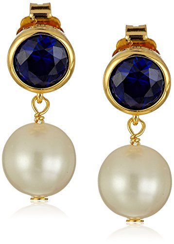 Pearl Sapphire Earrings (18k Gold Plated Sterling Silver Created Blue Sapphire and Freshwater Cultured Pearl Birthstone Drop Post Stud Earrings)