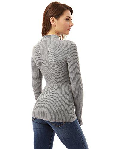 PattyBoutik Mujer cuello alto suéter de crucería gris