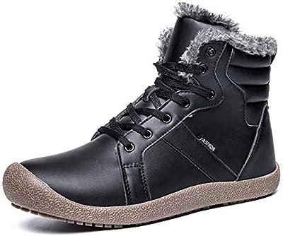 JIASUQI Men's Outdoor Winter Waterproof Warm Snow Boots Black 8 M US