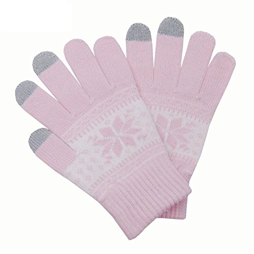 Jenny Shop Knitted Jacquard Touchscreen Texting Gloves for Smartphones & Tablets, Outdoor Men's/Women's Warm Knit Winter Gloves - Light (Halloween Shop Los Angeles)