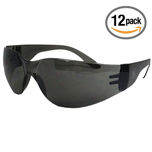 VF Safety - 12 Pack Professional Safety Glasses - ANSI 87.1 - UV, Fog, and Scratch Resistant Lens - DARK - Best Scratch Lenses Anti