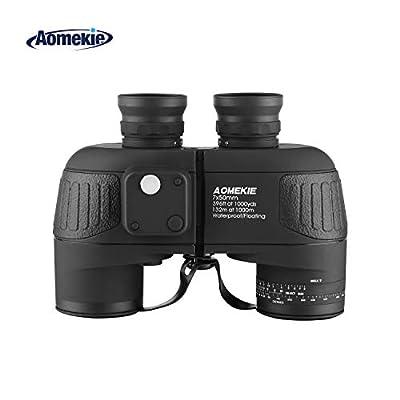 Aomekie AO3002 7X50 HD Military Marine Binoculars with Illuminated Rangefinder Compass, BAK4 Porro Prism Floating Waterproof/Fogproof Nitrogen fillfulled