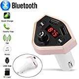 Glumes Bluetooth FM Transmitter for Car|Wireless Radio Transmitter Adapter|Mp3 Player with Hands Free Calls|Quick Charge|Dual USB|Car Charger|for Samsung/iPhone|Good Gift ( Silver)