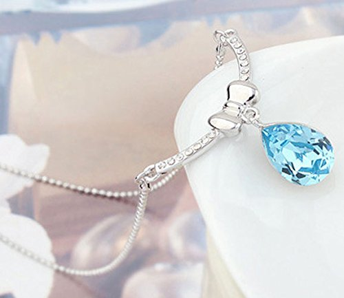 Chaomingzhen White Gold Plated Blue Crystal Bow Teardrop Charm Y Pendants Necklaces Women